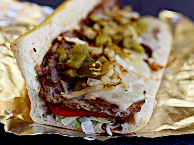 Ems Steak Grinder with grilled onions and peppers